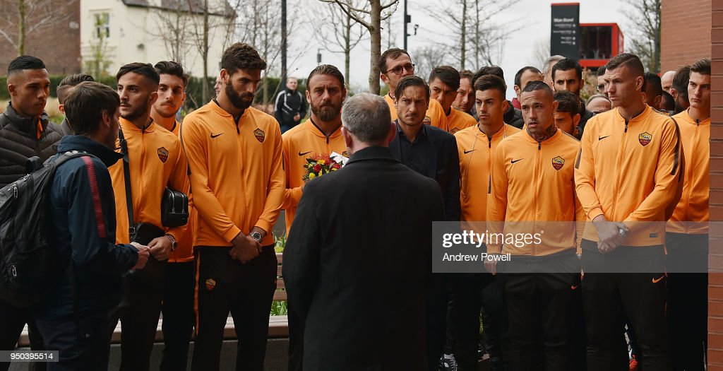 Daniele De Rossi, Edin Dzeko, Alisson Becker, Radja Nainggolan, Kostas Manolas, Patrik Schick and the rest of AS Roma pay tribute to victims of the Hillsborough disaster at the Hillsborough Memorial at Anfield on April 23, 2018 in Liverpool, England.