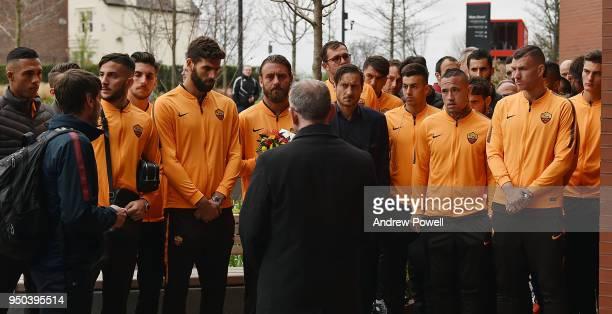 Daniele De Rossi Edin Dzeko Alisson Becker Radja Nainggolan Kostas Manolas Patrik Schick and the rest of AS Roma pay tribute to victims of the...