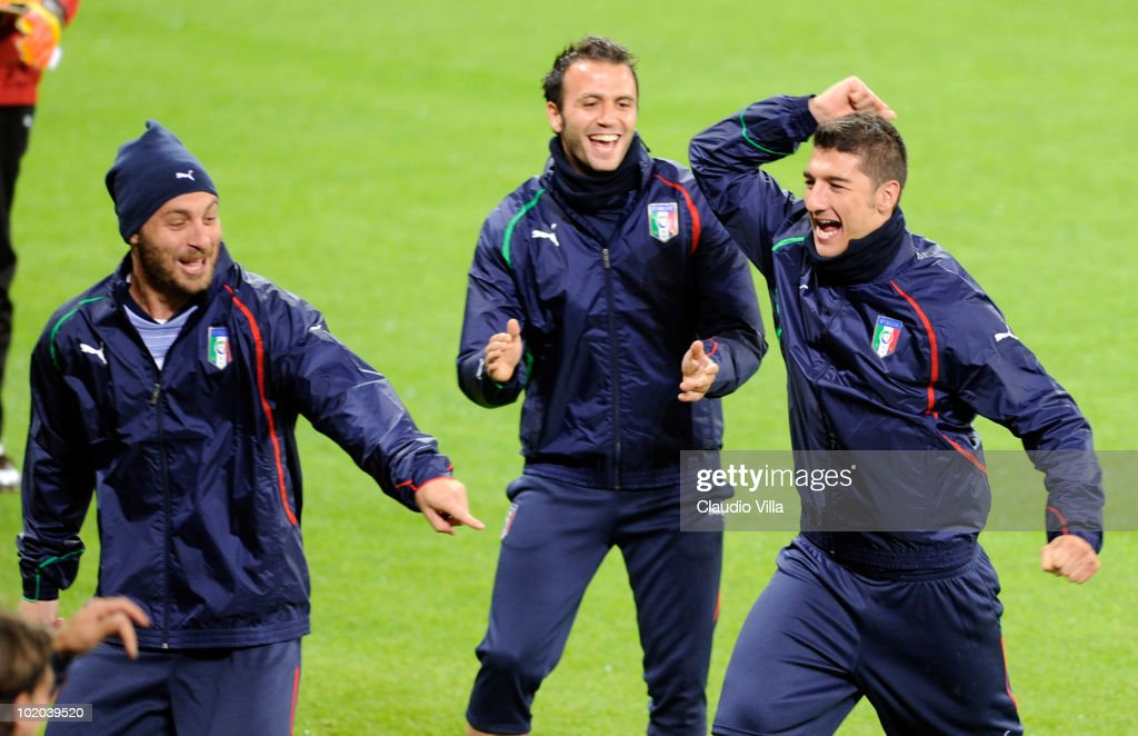 Daniele De Rossi, Giampaolo Pazzini and Salvatore Bocchetti laugh during an Italian training session at the 2010 FIFA World Cup at Green Point stadium on June 13, 2010 in Cape Town, South Africa.