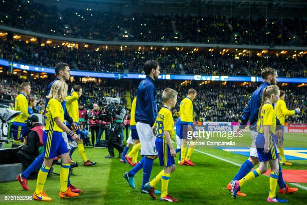 Daniele De Rossi Marco Parolo and Matteo Darmian of Italy during the FIFA 2018 World Cup Qualifier PlayOff First Leg between Sweden and Italy at...