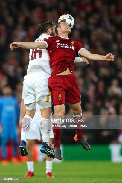 Daniele De Rossi of AS Roma and James Milner of Liverpool during the UEFA Champions League Semi Final First Leg match between Liverpool and AS Roma...