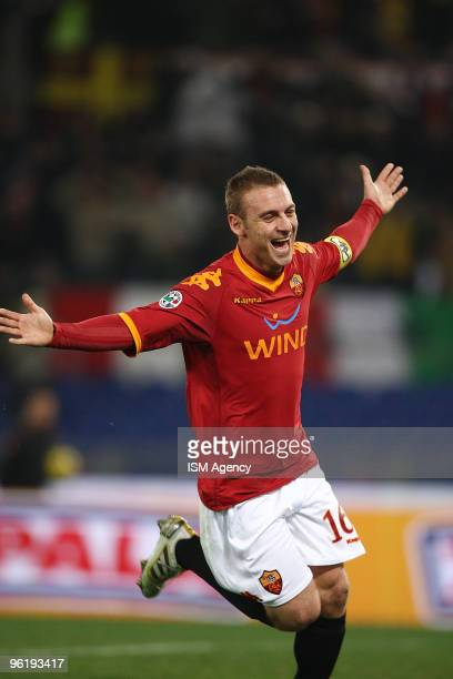 Daniele De Rossi of AS Roma Calcio celebrates the opening goal during the Tim Cup between Roma and Catania at Olimpico Stadium on January 26 2010 in...