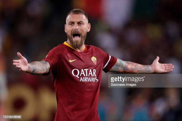 Daniele De Rossi of AS Roma during the Italian Serie A match between AS Roma v Atalanta Bergamo at the Stadio Olimpico Rome on August 27 2018 in Rome...