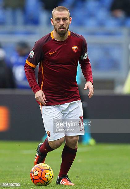 Daniele De Rossi of AS Roma in action during the Serie A match between AS Roma and Hellas Verona FC at Stadio Olimpico on January 17 2016 in Rome...