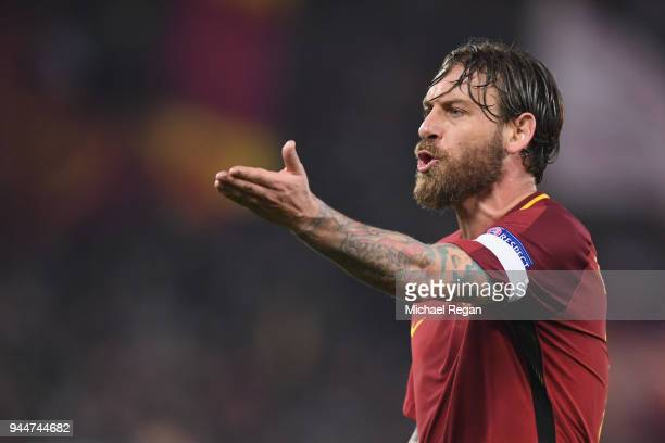 Daniele De Rossi of AS Roma in action during the UEFA Champions League Quarter Final Second Leg match between AS Roma and FC Barcelona at Stadio...
