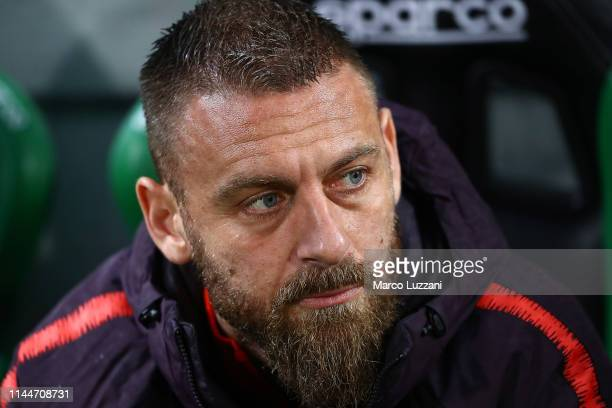 Daniele De Rossi of AS Roma looks on before the Serie A match between US Sassuolo and AS Roma at Mapei Stadium Citta' del Tricolore on May 18 2019 in...