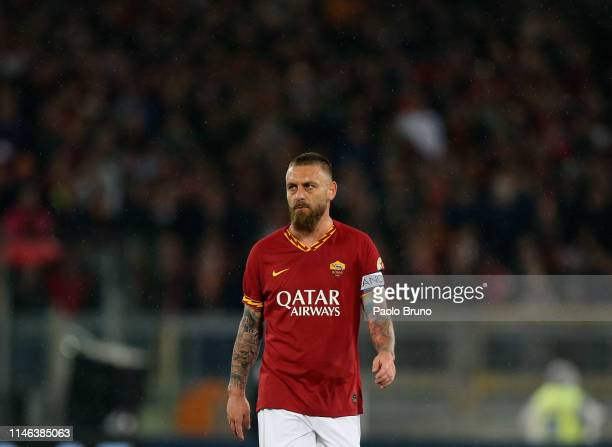 Daniele De Rossi of AS Roma looks on during his last match of the Serie A between AS Roma and Parma Calcio at Stadio Olimpico on May 26 2019 in Rome...