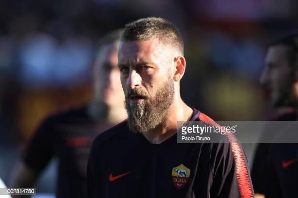 Daniele De Rossi of AS Roma looks on during the PreSeason Friendly match between AS Roma and Avellino at Stadio Benito Stirpe on July 20 2018 in...