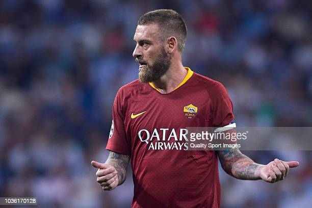 Daniele De Rossi of AS Roma reacts during the Group G match of the UEFA Champions League between Real Madrid and AS Roma at Bernabeu on September 19...