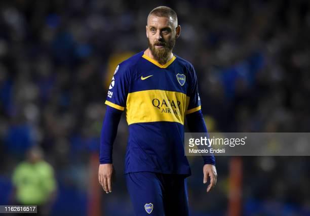 Daniele De Rossi of Boca Juniors looks on during a match between Boca Juniors and Aldosivi as part of Superliga 2019/20 at Estadio Alberto J. Armando...