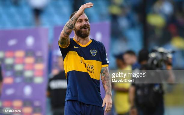 Daniele De Rossi of Boca Juniors waves the fans before a match between Boca Juniors and Union as part of Superliga 2019/20 at Estadio Alberto J...