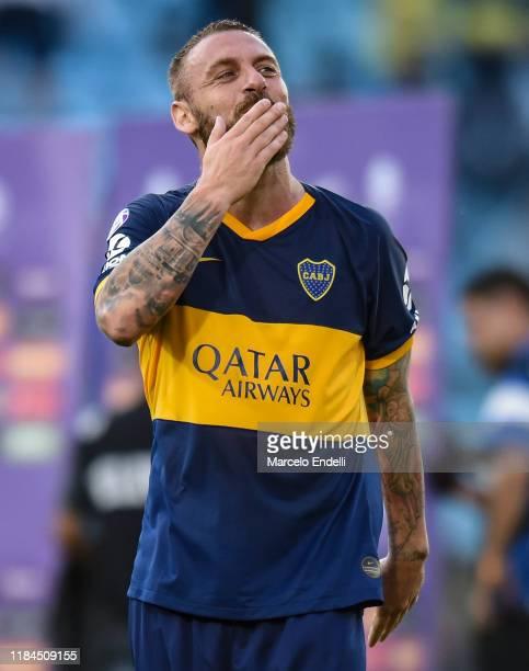 Daniele De Rossi of Boca Juniors waves the fans before a match between Boca Juniors and Union as part of Superliga 2019/20 at Estadio Alberto J....