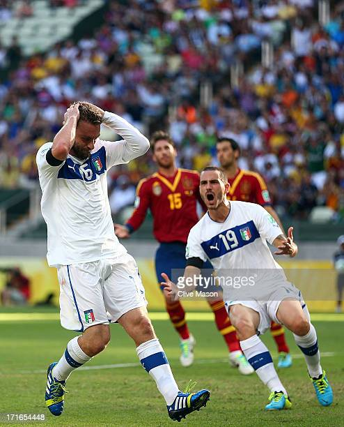 Daniele De Rossi of Italy and Leonardo Bonucci react to a missed chance during the FIFA Confederations Cup Brazil 2013 Semi Final match between Spain...