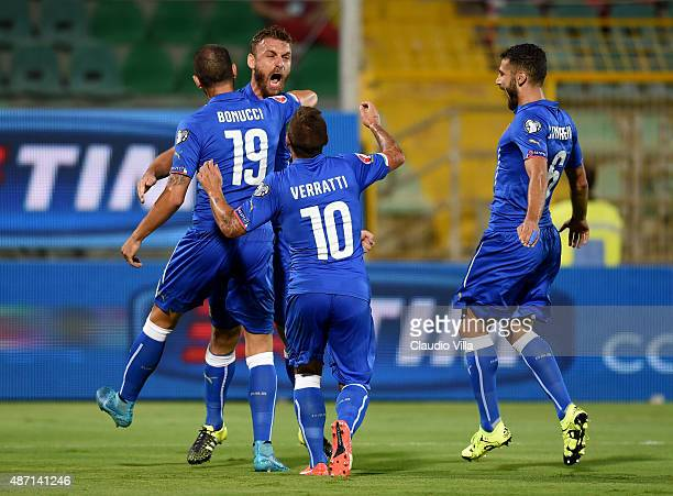 Daniele De Rossi of Italy celebrates after scoring the opening goal during the UEFA EURO 2016 Qualifier match between Italy and Bulgaria on September...