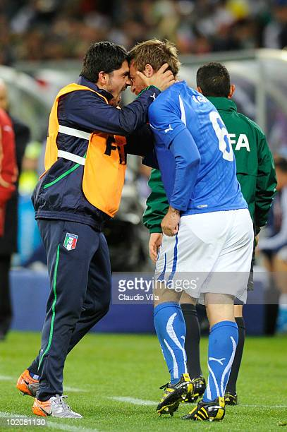 Daniele De Rossi of Italy celebrates scoring his team's first goal with team mate Gennaro Gattuso during the 2010 FIFA World Cup South Africa Group F...