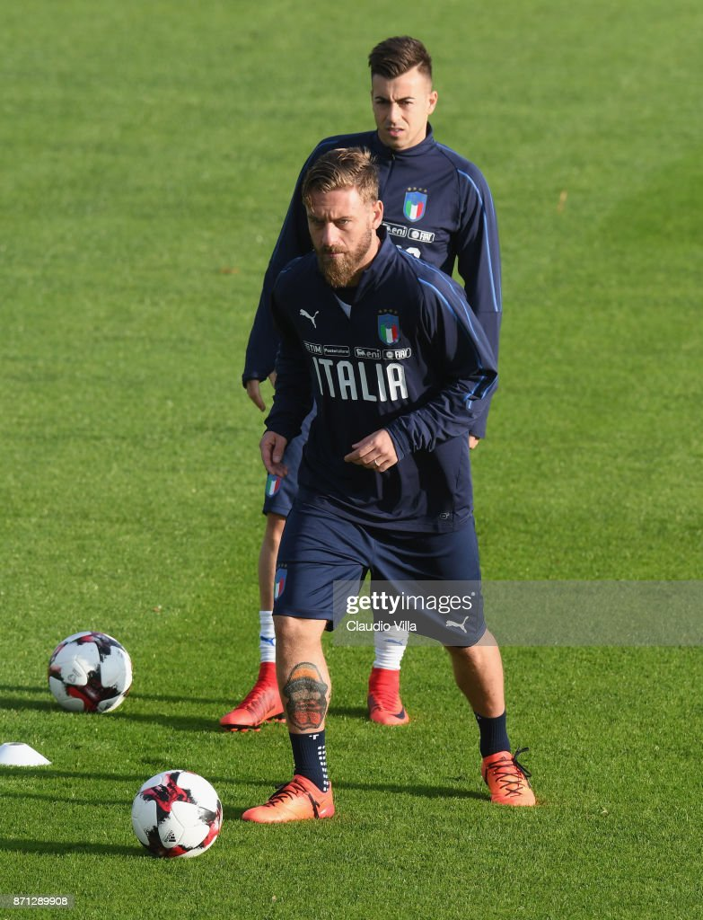 Daniele De Rossi of Italy in action during the training session at Italy club's training ground at Coverciano on November 7, 2017 in Florence, Italy.