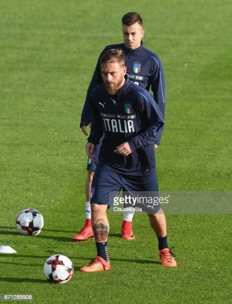 Daniele De Rossi of Italy in action during the training session at Italy club's training ground at Coverciano on November 7 2017 in Florence Italy
