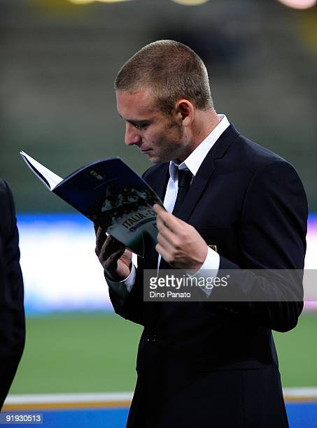 Daniele De Rossi of Italy reading newspaper before the FIFA2010 World Cup Group 8 Qualifier match between Italy and Cyprus at the Tardini Stadium on...