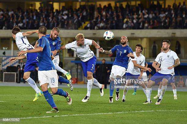 Daniele De Rossi of Italy scores a goal during the international friendly match between Italy and Finland on June 6 2016 in Verona Italy