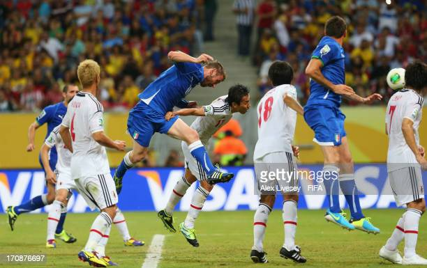 Daniele De Rossi of Italy scores his team's first goal during the FIFA Confederations Cup Brazil 2013 Group A match between Italy and Japan at Arena...