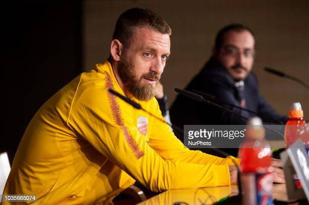 Head Coach Eusebio Di Francesco hold a press conference ahead of UEFA Champions League Group G football match between Real Madrid and AS Roma at...