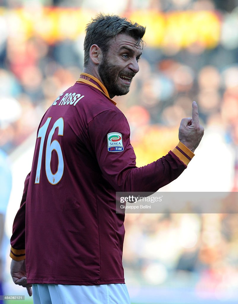 Daniele De Rossi of Roma gestures during the Serie A match between AS Roma and ACF Fiorentina at Stadio Olimpico on December 8, 2013 in Rome, Italy.