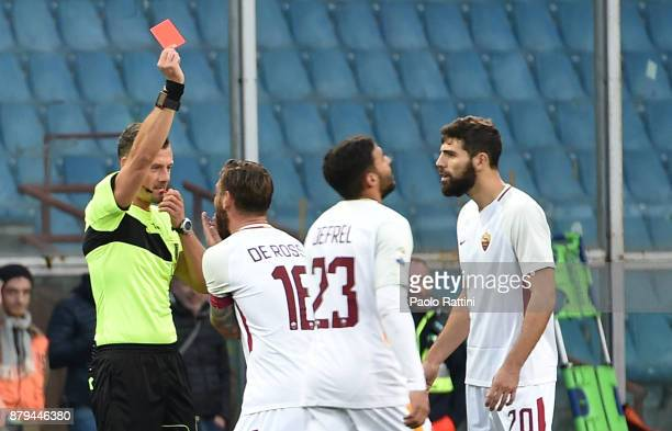 Daniele De Rossi of Roma is given a red card from referee Giacomelli during the Serie A match between Genoa CFC and AS Roma at Stadio Luigi Ferraris...