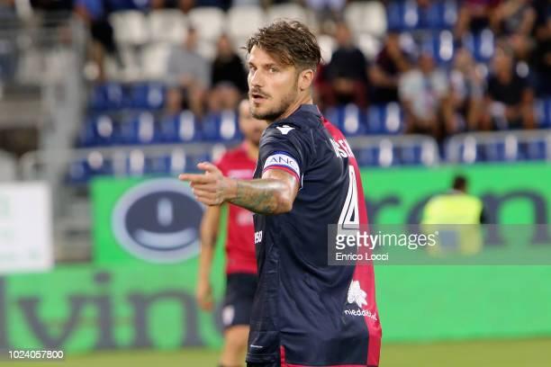 Daniele Dessena of Cagliari looks during the serie A match between Cagliari and US Sassuolo at Sardegna Arena on August 26 2018 in Cagliari Italy