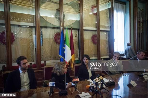 Daniele Diaco Pinuccia Montanari Virginia Raggi Rossano Ercolini Lorenzo Bagnacani during 'Zero Waste' press conference in Rome Italy on 23 October...