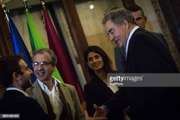 Daniele Diaco Virginia Raggi Rossano Ercolini Paul Connett during 'Zero Waste' press conference in Rome Italy on 23 October 2017 With this aim Rome...