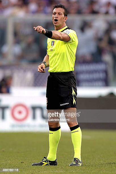 Daniele Doveri referee gestures during the Serie A match between ACF Fiorentina and Genoa CFC at Stadio Artemio Franchi on September 12 2015 in...