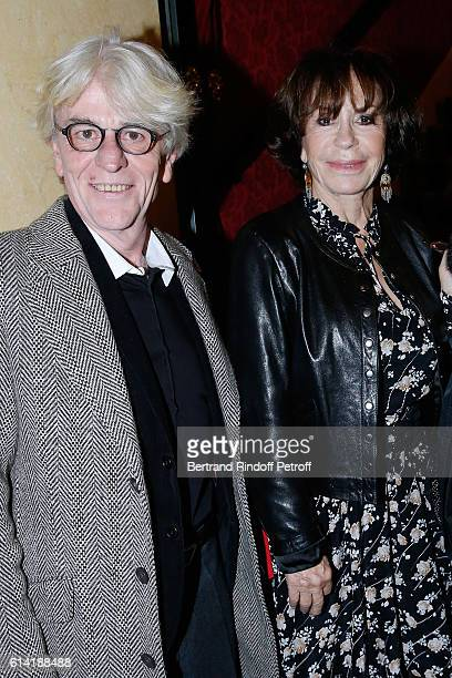 Daniele Evenou and her companion JeanPierre Baiesi attend the 'A Droite A Gauche' Theater Play at Theatre des Varietes on October 12 2016 in Paris...