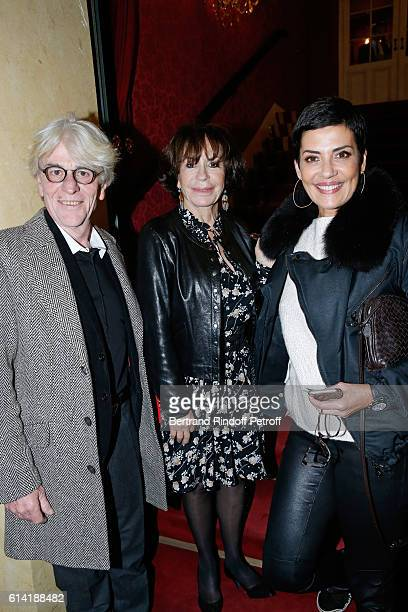 Daniele Evenou standing between her companion JeanPierre Baiesi and TV host Cristina Cordula attend the 'A Droite A Gauche' Theater Play at Theatre...