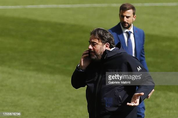 Daniele Faggiano general manager of Parma Calcio receives the 30 minute postponement call during the Serie A match between Parma Calcio and SPAL at...