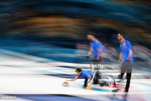 Daniele Ferrazza Simone Gonin Joel Retornaz and Amos Mosaner of Italy compete in the Curling Men's Round Robin Session 4 held at Gangneung Curling...