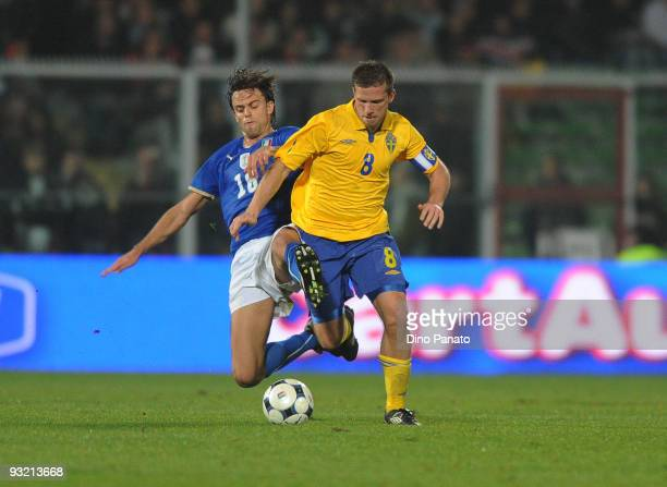 Daniele Galloppa of Italy competes with Anders Svensson of Sweden during International Friendly Match beetwen Italy and Sweden at Dino Manuzzi...