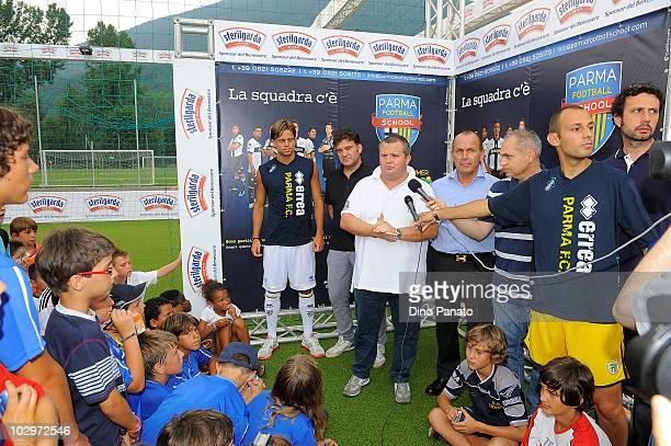 Daniele Galloppa of Parma, Tommaso Ghirardi president of Parma and Giampiero Passamani major of Levico during the pre season friendly match betwen...