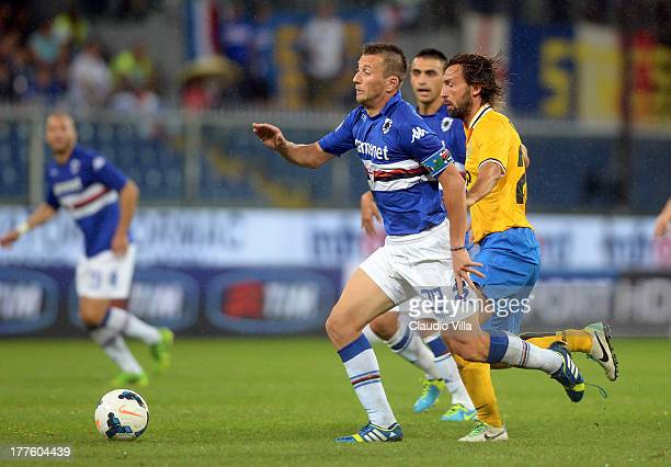 Daniele Gastaldello of UC Sampdoria in action during the Serie A match between UC Sampdoria and Juventus at Stadio Luigi Ferraris on August 24 2013...