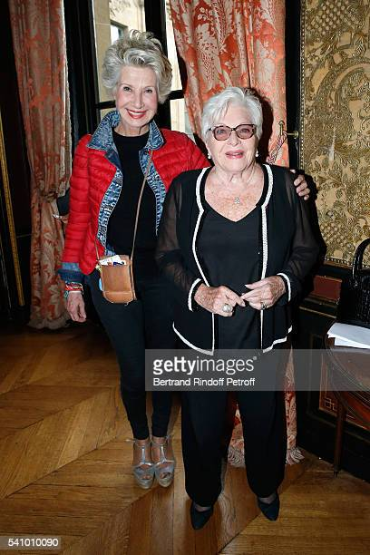 Daniele Gilbert and Line Renaud attend Levon Sayan receives Insignia of Commandeur de l'Ordre National du Merite at Hotel d'Evreux on June 14 2016 in...