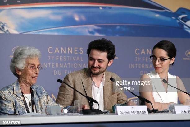 Daniele Heymann Director AB Shawky and actress Shahira Fahmy attend the press conference for 'Yomeddine' during the 71st annual Cannes Film Festival...