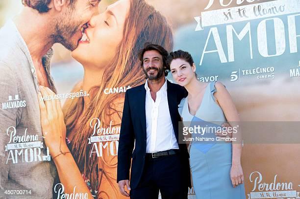 Daniele Liotti and Paloma Bloyd attend 'Perdona Si Te Llamo Amor' photocall at Cafeteria Rio on June 16 2014 in Madrid Spain