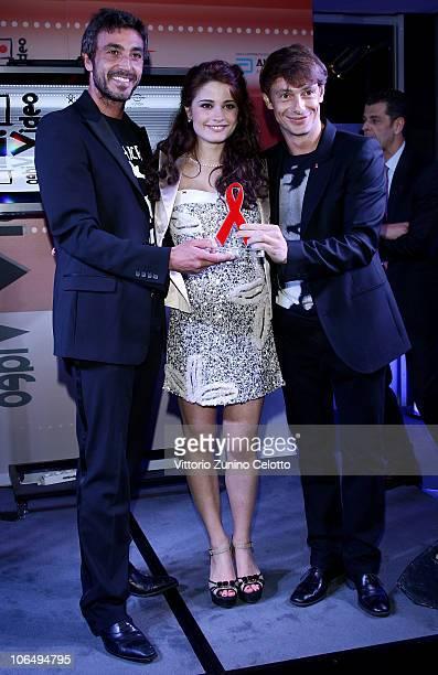 Daniele Liotti Giulia Elettra Gorietti and Giorgio Pasotti attends The HIVideo Spot 2010 Awards during the 5th Rome International Film Festival at...
