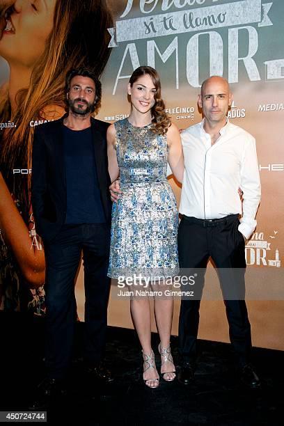 Daniele Liotti Paloma Bloyd and Joaquin Llamas attend 'Perdona Si Te Llamo Amor' premiere at Cines Cinesa Mendez Alvaro on June 16 2014 in Madrid...