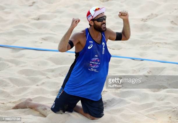 Daniele Lupo celebrates during the Beach Volley Rome World Tour Finals Main Draw Pool A match at the Foro Italico in Rome Italy on September 5 2019