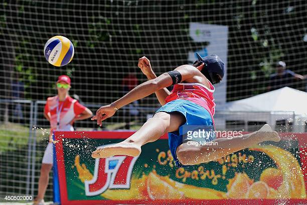 Daniele Lupo from Italy digs a gall in the match against the team of Switzerland during day 2 of the FIVB Moscow Grand Slam on June 12 2014 in Moscow...