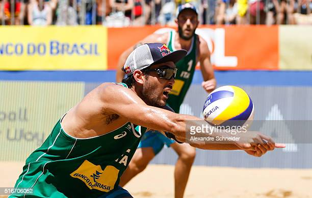 Daniele Lupo of Italy in action during the final match against Brazil at Camburi beach during day six of the FIVB Beach Volleyball Vitoria Open on...