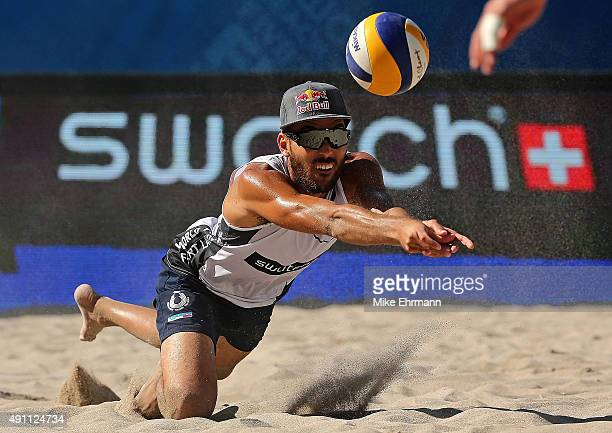 Daniele Lupo of Italy plays a shot during a match against Cerutti Alison and Oscar Schmidt Bruno of Brazil at the FIVB Fort Lauderdale Swatch Season...