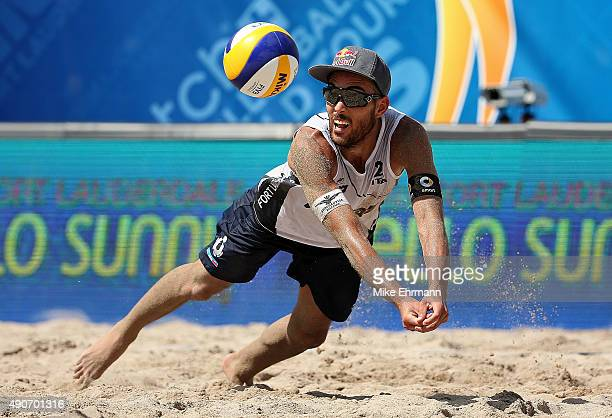 Daniele Lupo of Italy plays a shot during a match against Pedro Solberg and Evandro Gonvlaves of Brazil on September 30 2015 in Fort Lauderdale...