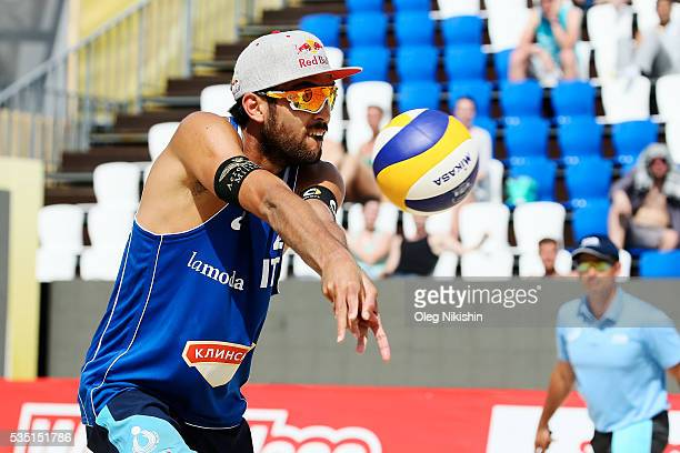 Daniele Lupo of Italy receives a ball during a game between Brazil and Italy on day 5 of the FIVB Moscow Grand Slam at sports complex Dynamo Vodny...