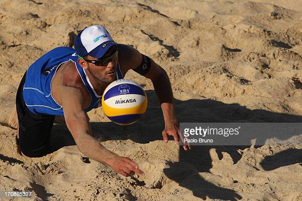 Daniele Lupo of Italy receives the ball during the men's main draw of FIVB Smart Grand Slam at Foro Italico on June 19 2013 in Rome Italy